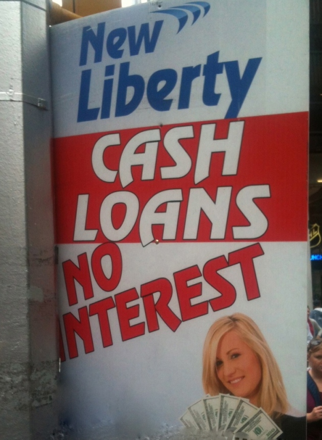 A loan with no interest? That pretty lady with the cash makes a strong case.