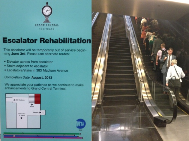 Maintenance on the 47th and Madison escalator (left) and the private escalator that's replaced it (right)